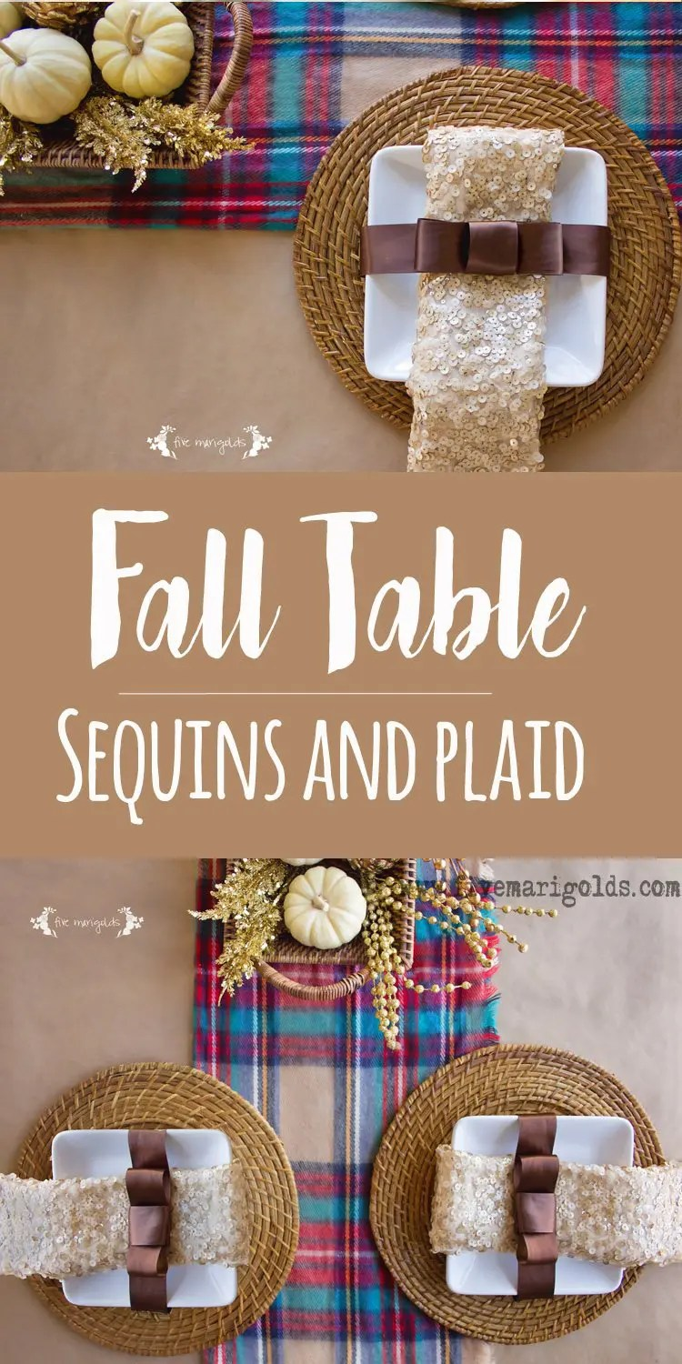 Casual Fall Tablescape with Plaid and Sequins