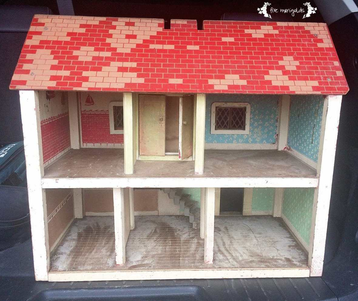 Vintage Doll House Makeover Before | Five Marigolds