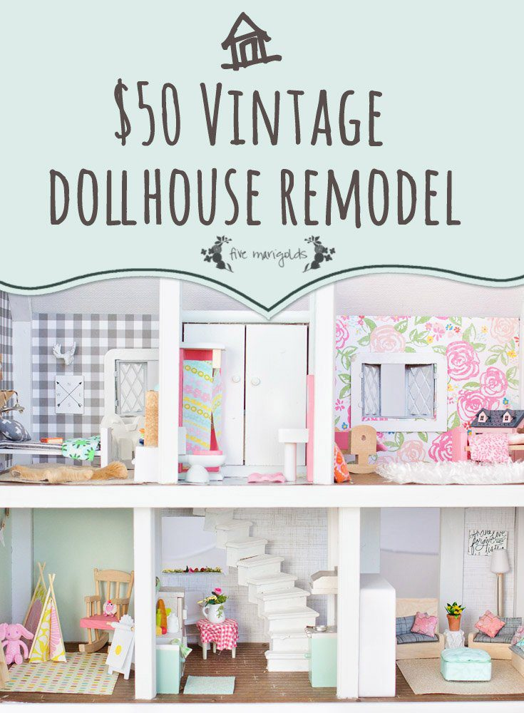 Vintage Dollhouse Makeover for $50 Final Reveal! | Five Marigolds