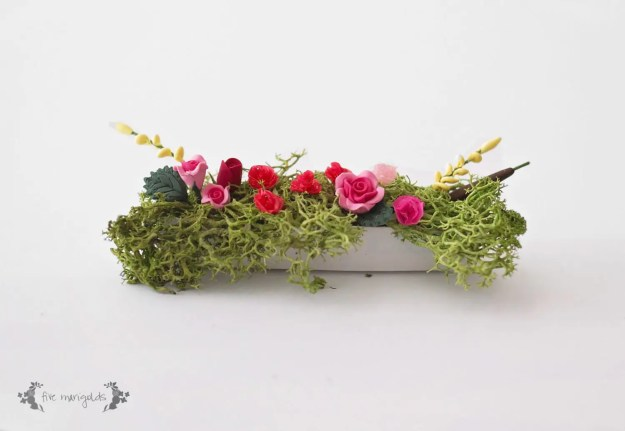 DIY Miniature Dollhouse Window Flower Box | www.fivemarigolds.com
