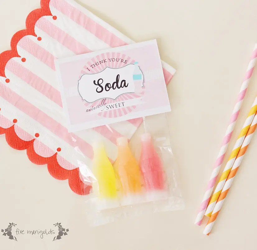 I think you're soda sweet Valentine's Day Tag Printable | www.fivemarigolds.com