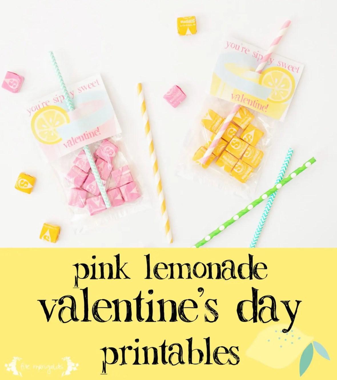 Simply Sweet Pink Lemonade Valentines Printable | www.fivemarigolds.com