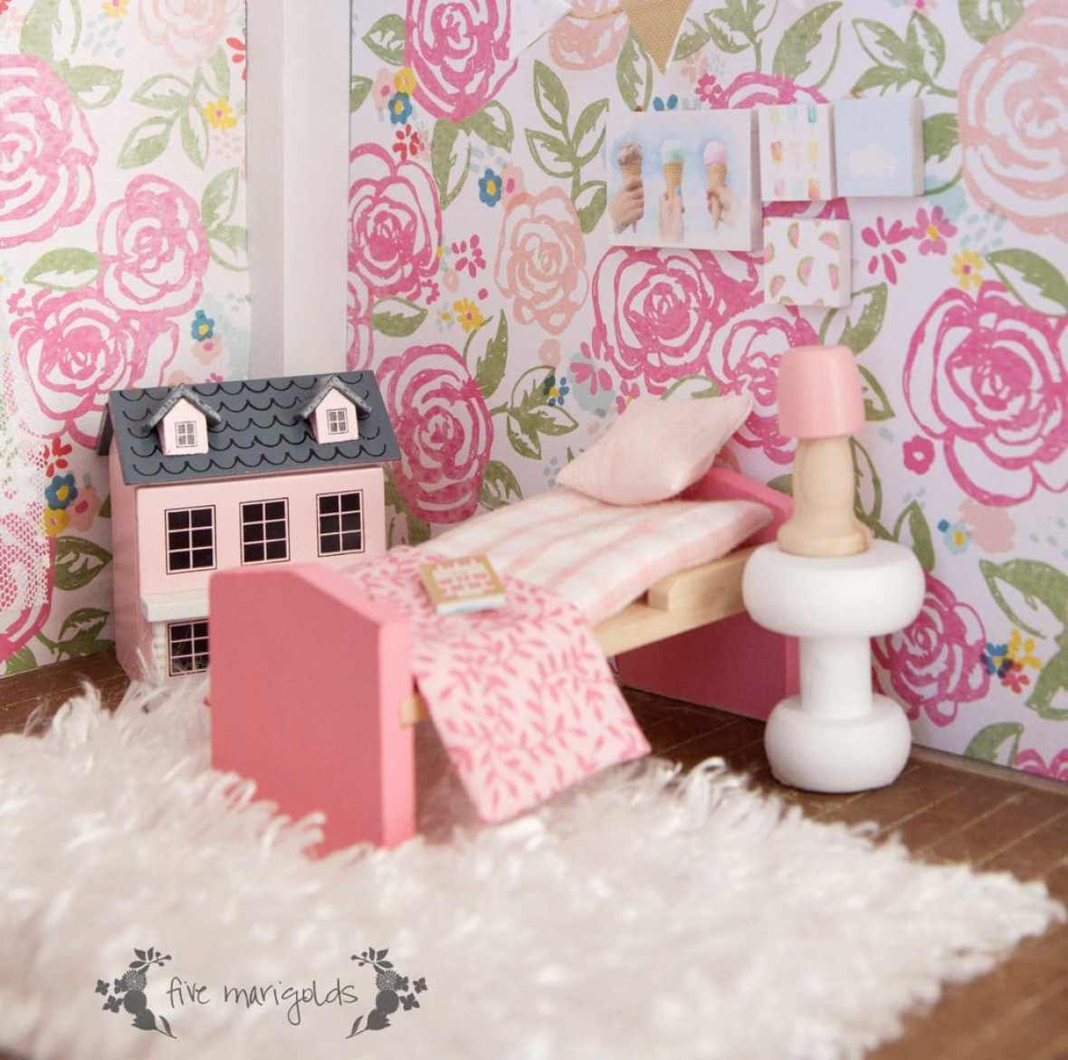 Vintage Dollhouse Remodel for less than $50 | www.fivemarigolds.com