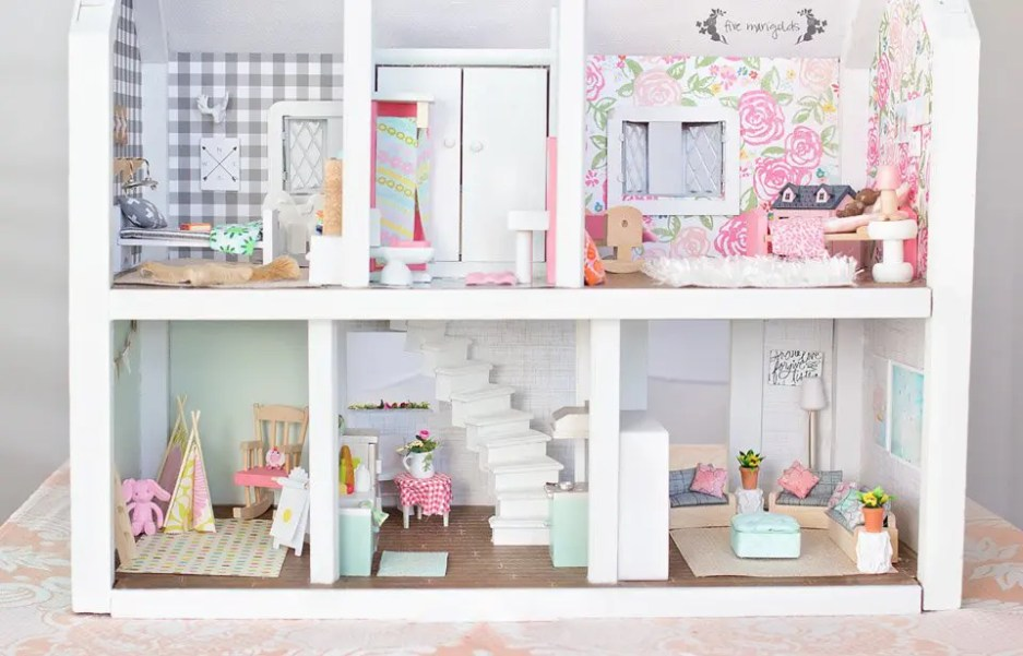 Vintage Dollhouse Makeover Under $50 Final Reveal | Five Marigolds