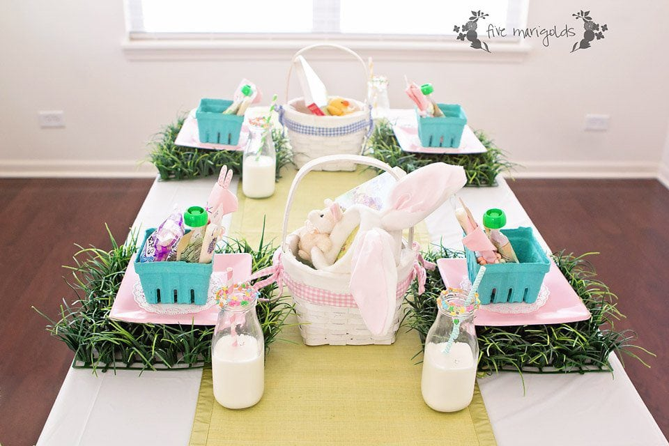 Simple Easter Tablescape for Kids | Five Marigolds