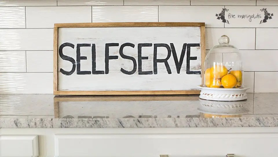 DIY Upcycled Self Serve Sign for the Kitchen | Five Marigolds