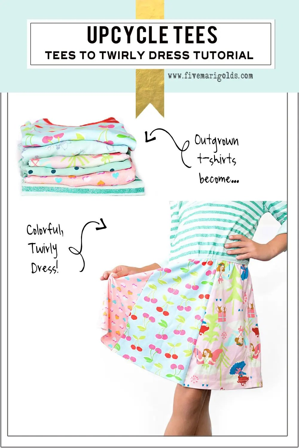 I love this! Upcycle outgrown tees to create a custom dress for girls.