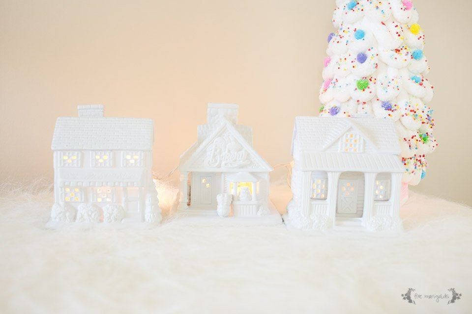 Trash to Treasure: Ceramic House Night Lights for a Girl's Room, thrifted from a Christmas Village. | Five Marigolds
