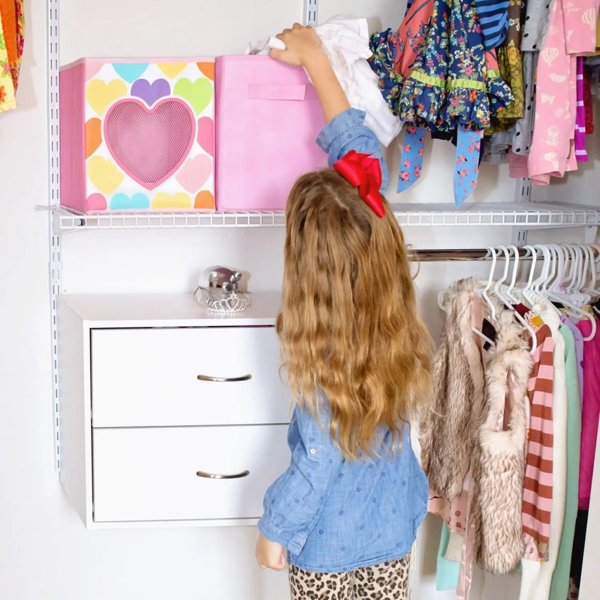 Girl's Bedroom Closet Organization Before and After #WinterizeYourClosets #ad