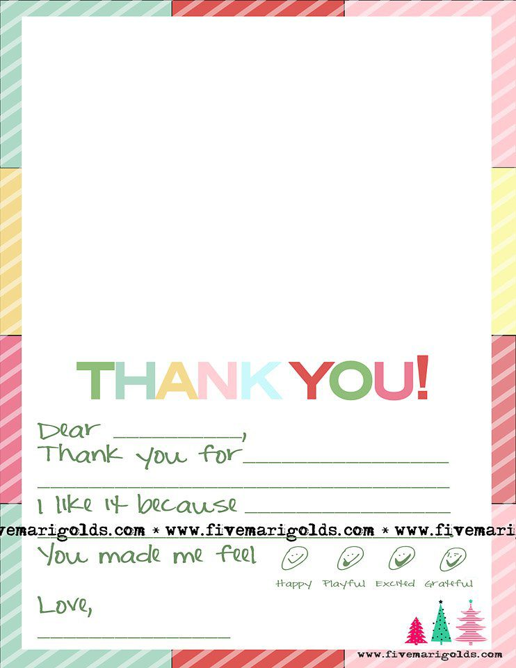 christmas thank you note template for kids five marigolds