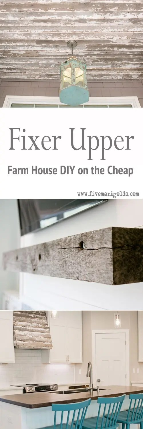 Fixer Upper Reveal: Shiplap and Barn Wood, Oh My! Guest Post via Berties Build on a Budget | Five Marigolds