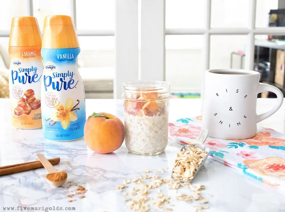 Peaches 'n Cream Overnight Oats - Simple Pure Vanilla in my clean Peaches 'N Cream Overnight Oats recipe - perfect for busy weekday mornings.   Five Marigolds