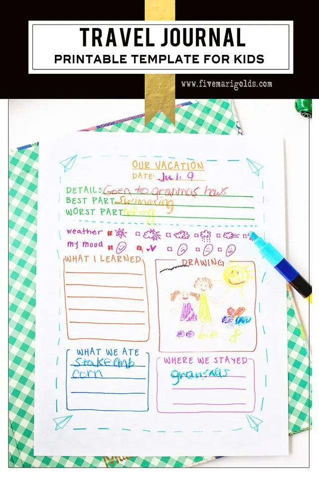 Brilliant! Free printable travel journal template for kids! Great for summer vacations and spring break travel. | Five Marigolds #FRAMFreshBreeze #ad