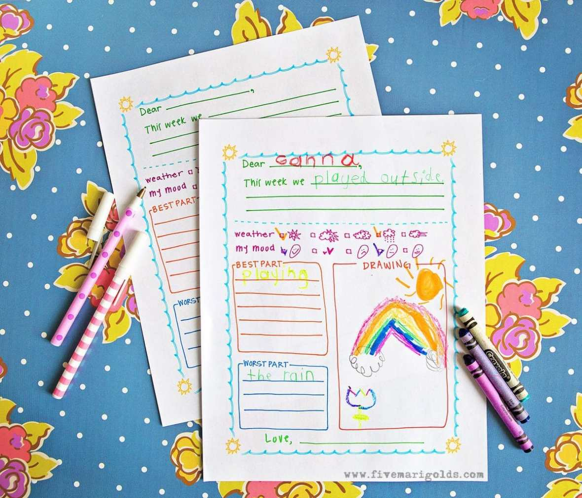 Summer letter templates for kids five marigolds this free summer letter template for kids is great for pen pals summer camp maxwellsz