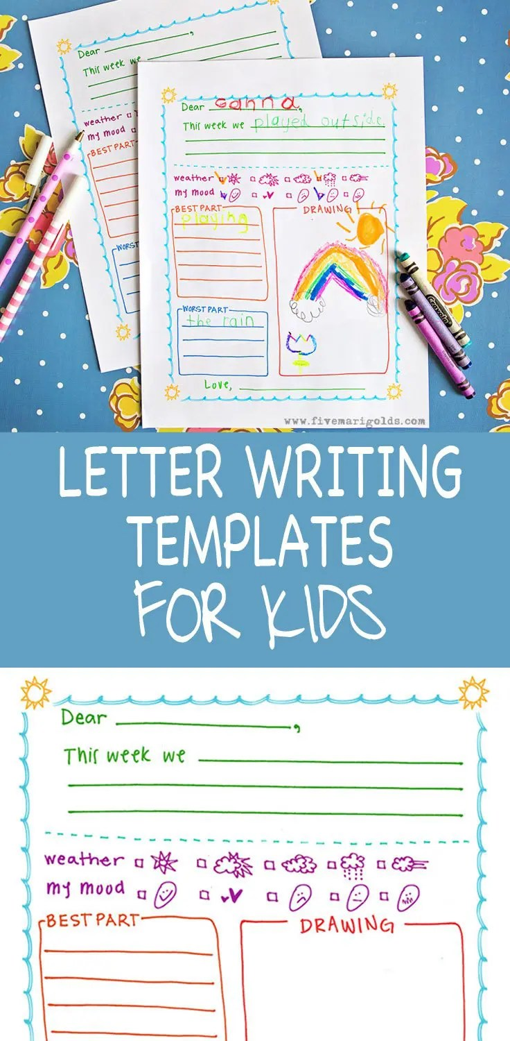 The free letter template for kids is great for pen pals, summer camp, and keeping in touch with pals and relatives over summer vacation!