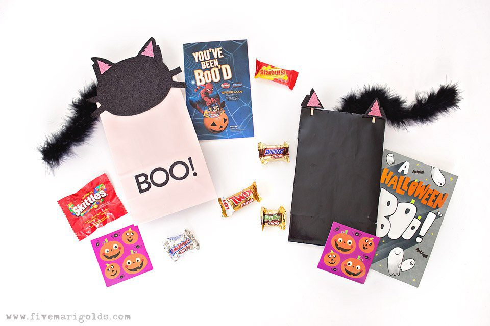 Pink and Black Cat Printables for Birthday Favors and Halloween BOO Bags