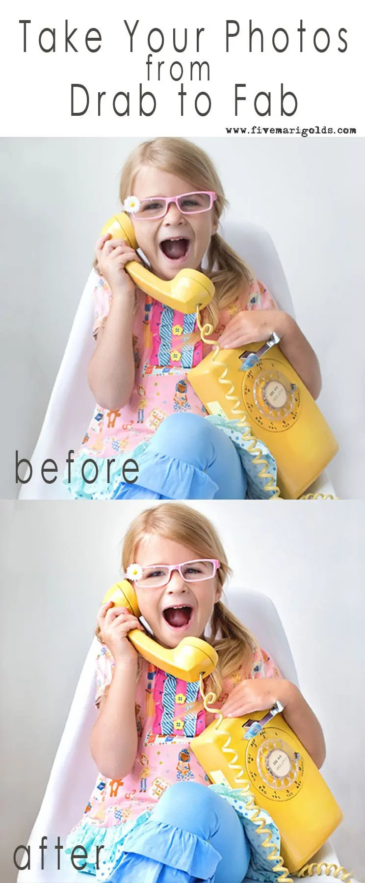 Take your photos from drab to fab with this clean and bright photo editing tutorial | Five Marigolds