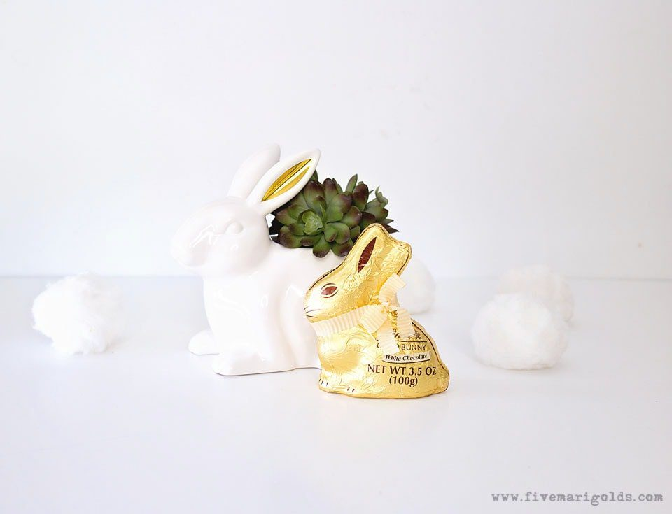 White ceramic rabbit planter with succulent. No Candy Easter Basket.
