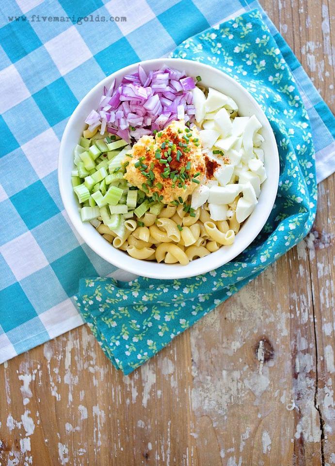 Deviled Egg Pasta Salad | Five Marigolds