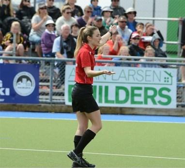 Rhiannon umpiring Australia vs. New Zealand at the 2015 Oceania Cup