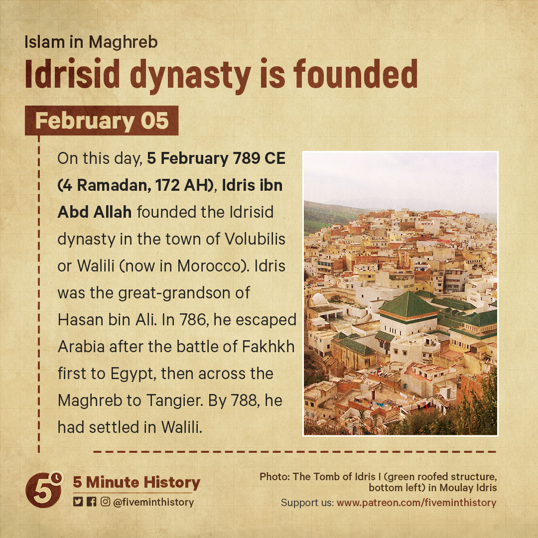 Idrisid dynasty is founded