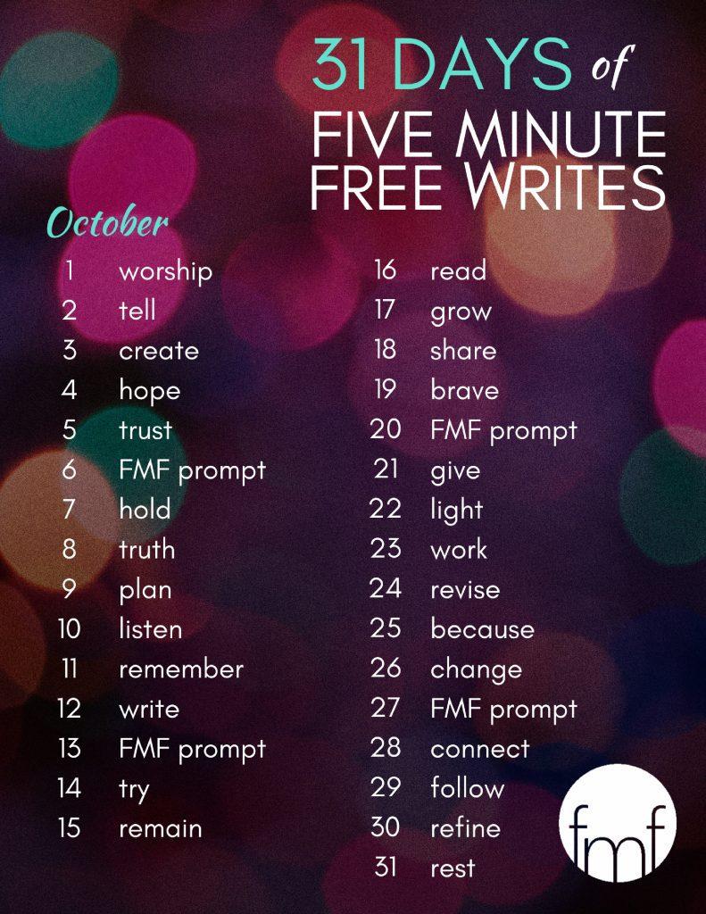 Write 31 Days prompts - 2017