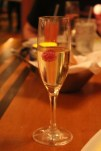Complimentary champaigne from our server at The Wave...of American Flavors.