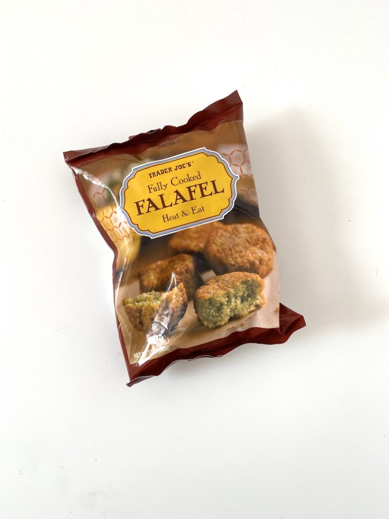 Favorite healthy Trader Joe's freezer items for quick meals: Fully Cooked Falafel / Five Plates blog