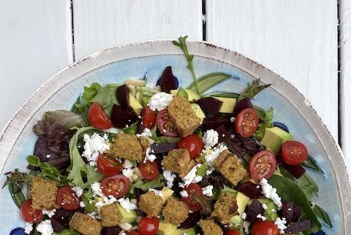 Famers Market Salad with Cornbread Croutons. FivePlates.com