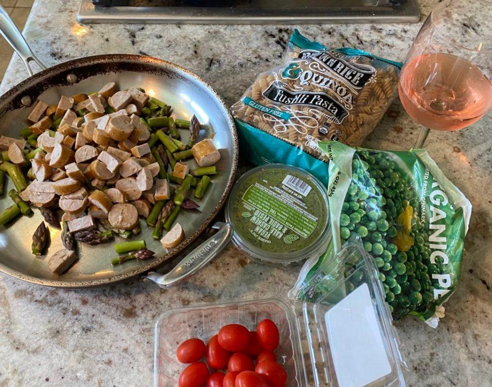 Quick Easy Healthy Dinner Idea: Pesto Pasta with Veggies and Chicken Sausage/ FivePlates.com