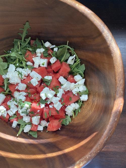 Best Spring & Summer Breakfast, Dinner, Dessert Recipes: Watermelon Arugula Feta Mint Salad. FivePlates.com