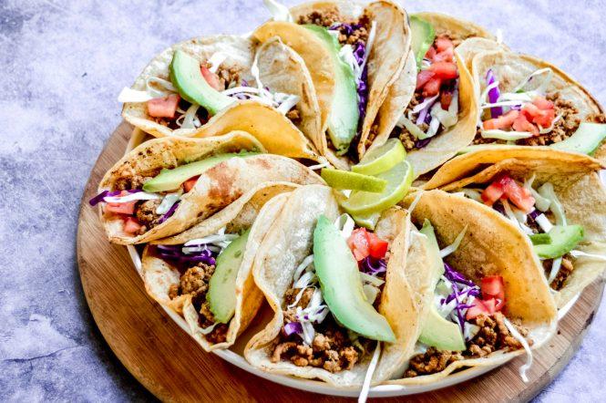 Dinner plan ideas: Taco Tuesday ground turkey tacos from Kay's Clean Eats.