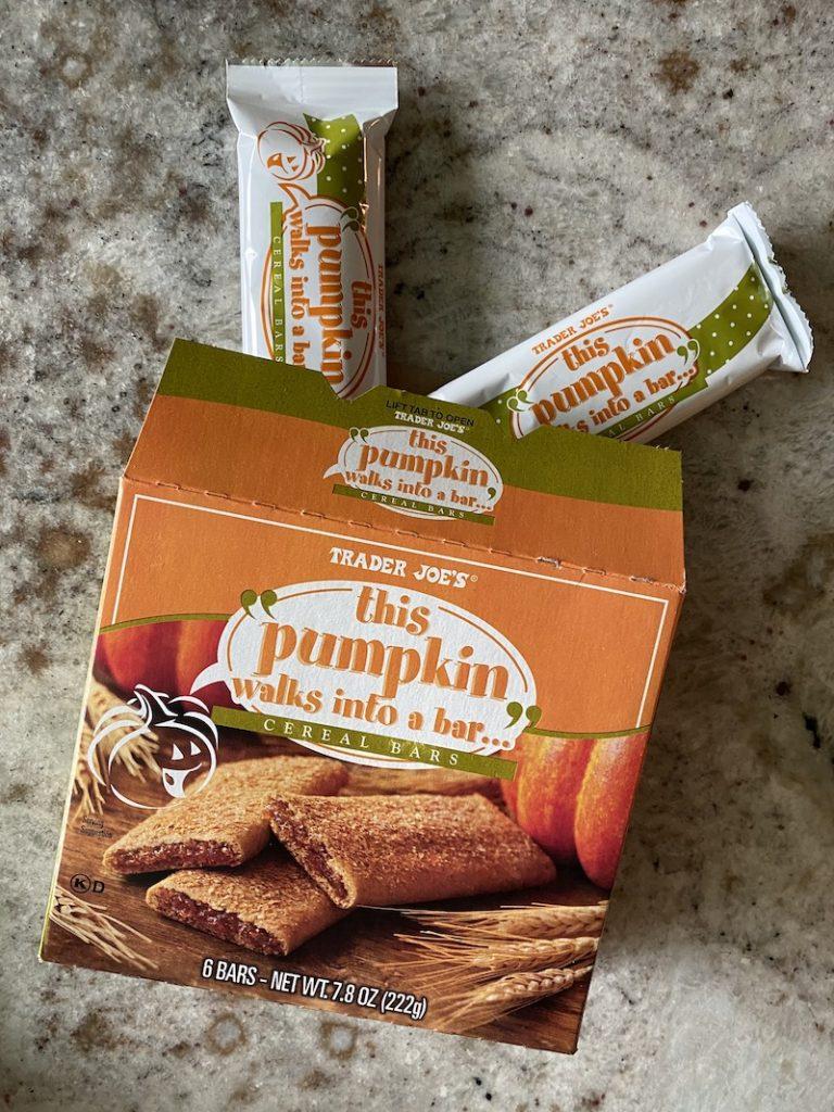 The best kids Trader Joe's fall items: This Pumpkin Walks into a Bar Pumpkin Cereal Bars