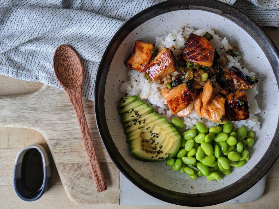 Fall dinner plan: Salmon teriyaki sushi bowls with sweet potatoes