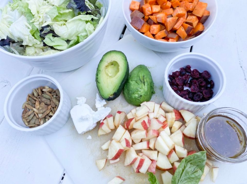 Colorful dinners are the best! Easy Fall Salad with sweet potato, beets, avocado, apple, pumpkin seeds, goat cheese. Mmmm.
