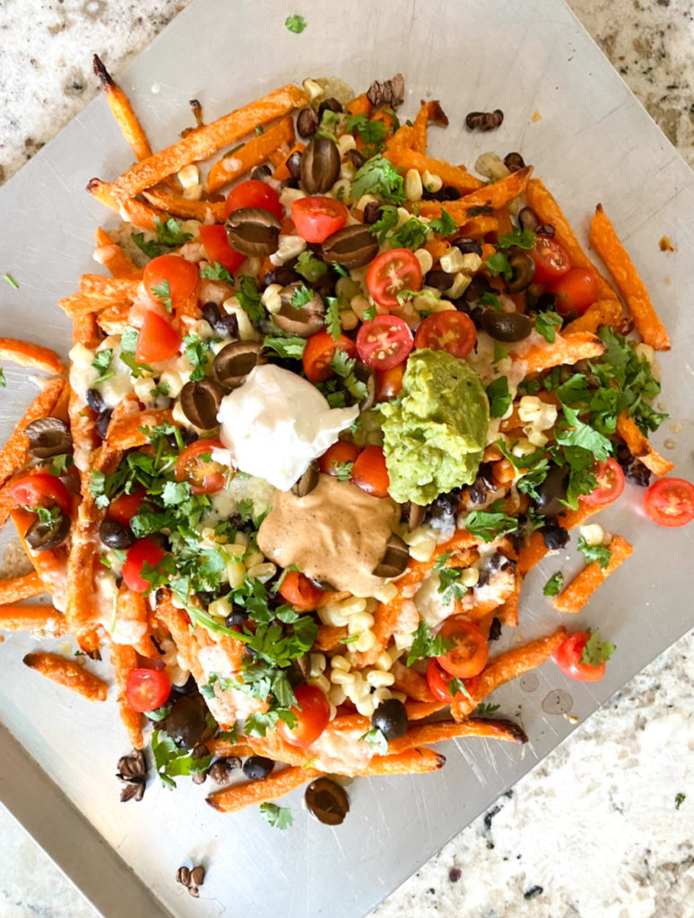 loaded sweet potato fries, easy kid-friendly dinner idea from the spring meal plan. fiveplates.com