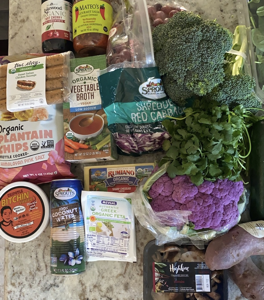 Sprouts Farmers Market family plant-based whole foods grocery haul list and meal plan