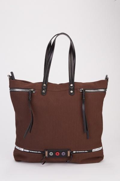 Ribbed Decorative Button Front tote Handbag