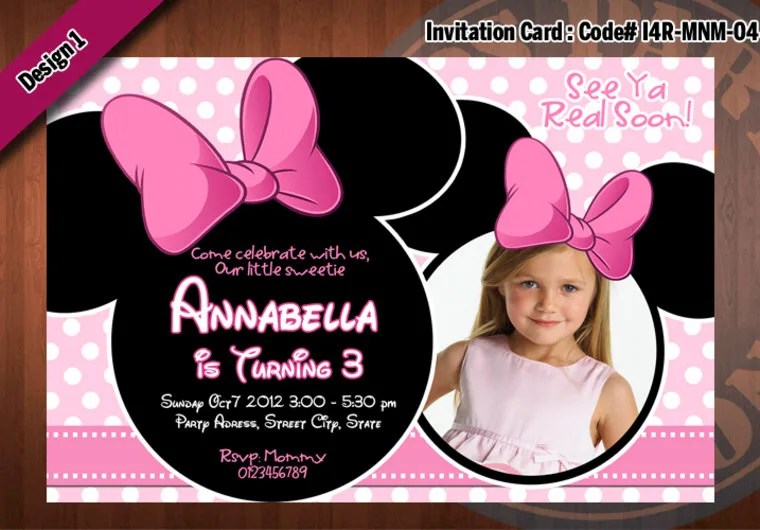 Personalize A Minnie Mouse Birthday Invitation Card With Your Photo By Ezws727 Fiverr