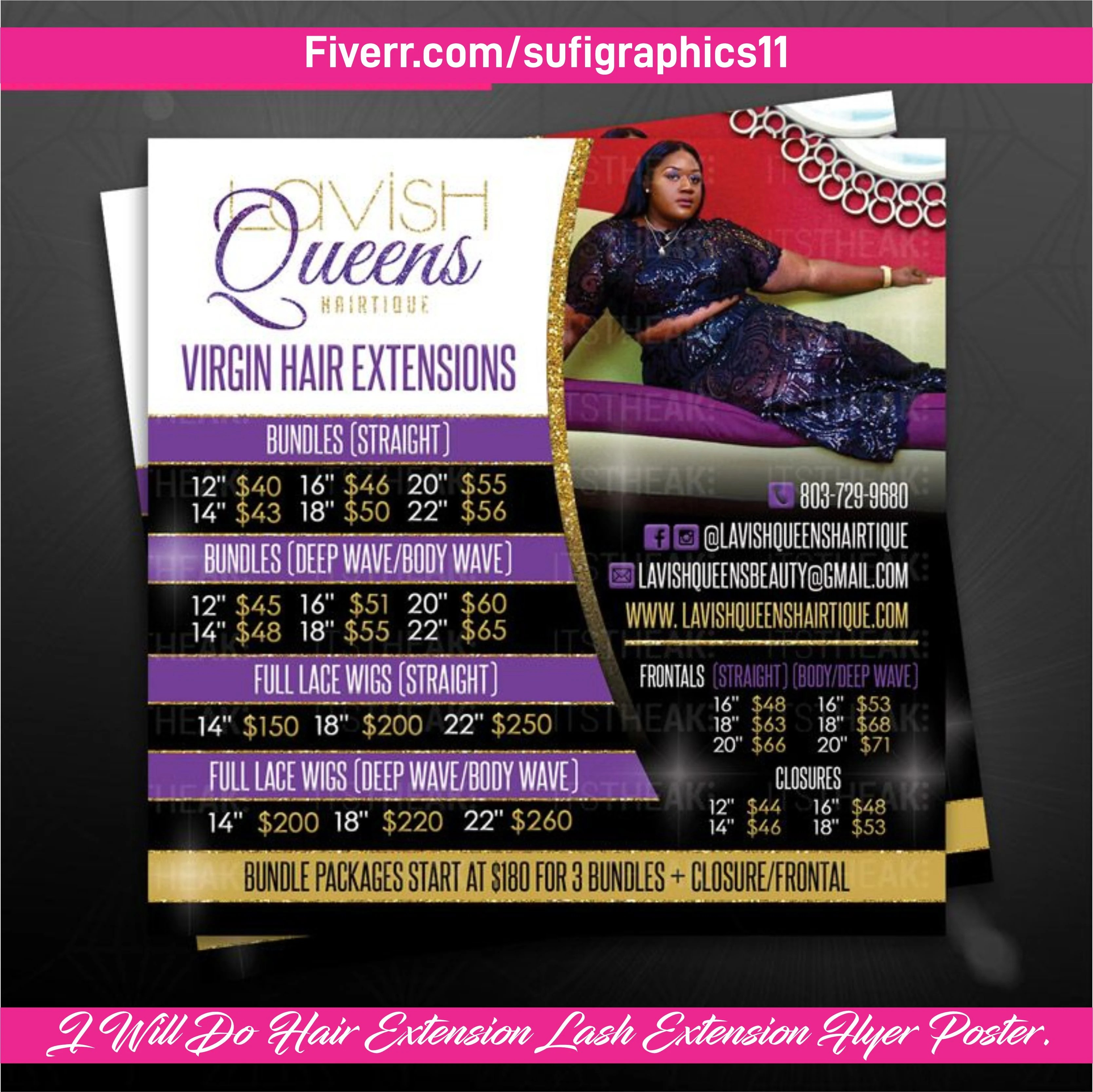 do beautiful hair extension lash extension flyer poster ad