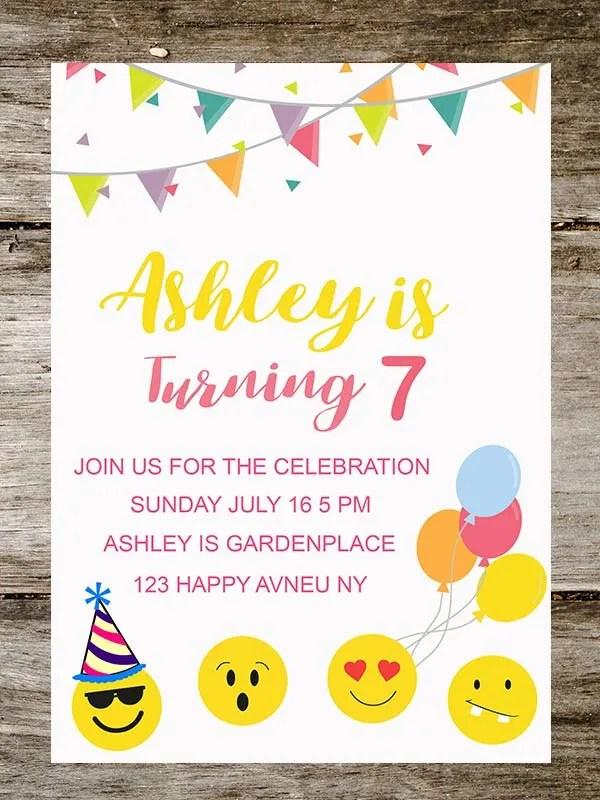 create birthday emoji party invitation