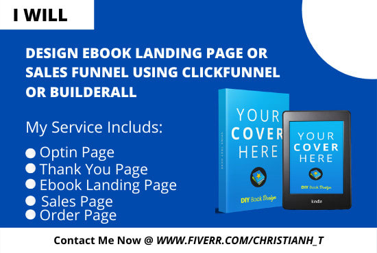 design ebook landing page or sales funnel using clickfunnel or builderall