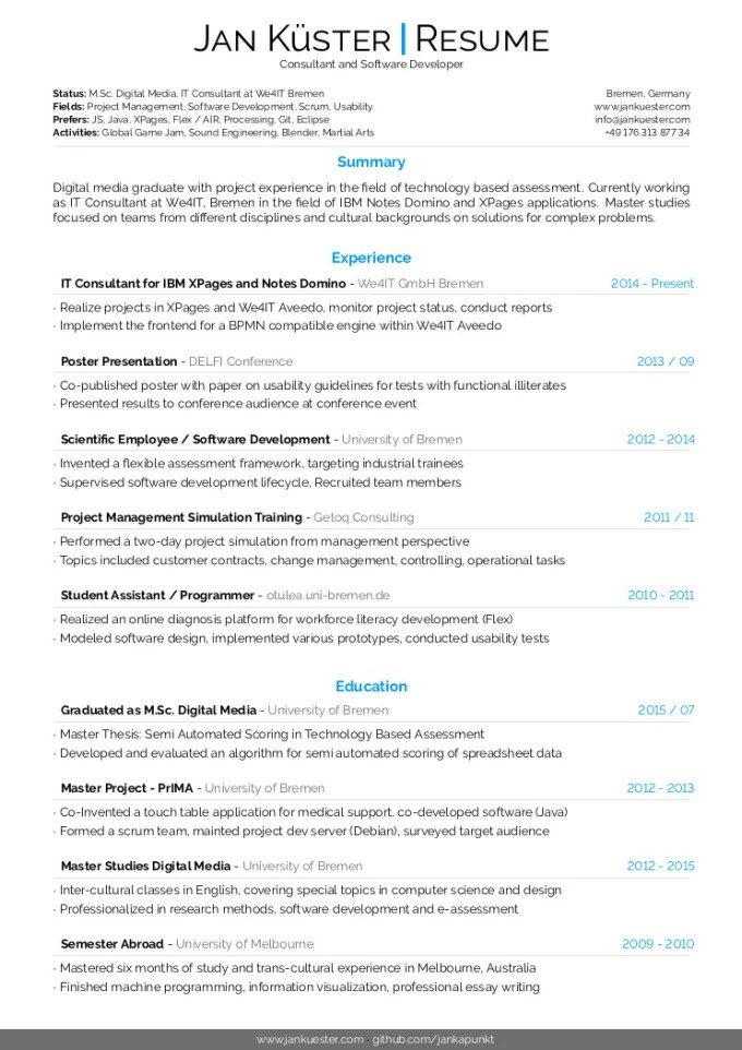 Jkuester I Will Create An Awesome Cv Or Resume Using Latex For You For 25 On Www Fiverr Com