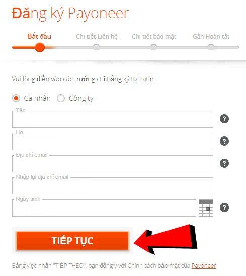 cách đăng ký tài khoản payoneer 3