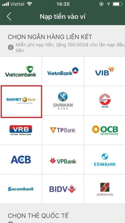 liên kết ví điện tử momo với ngân hàng bảo việt