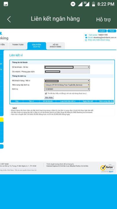 liên kết ví điện tử momo với ngân hàng eximbank 1