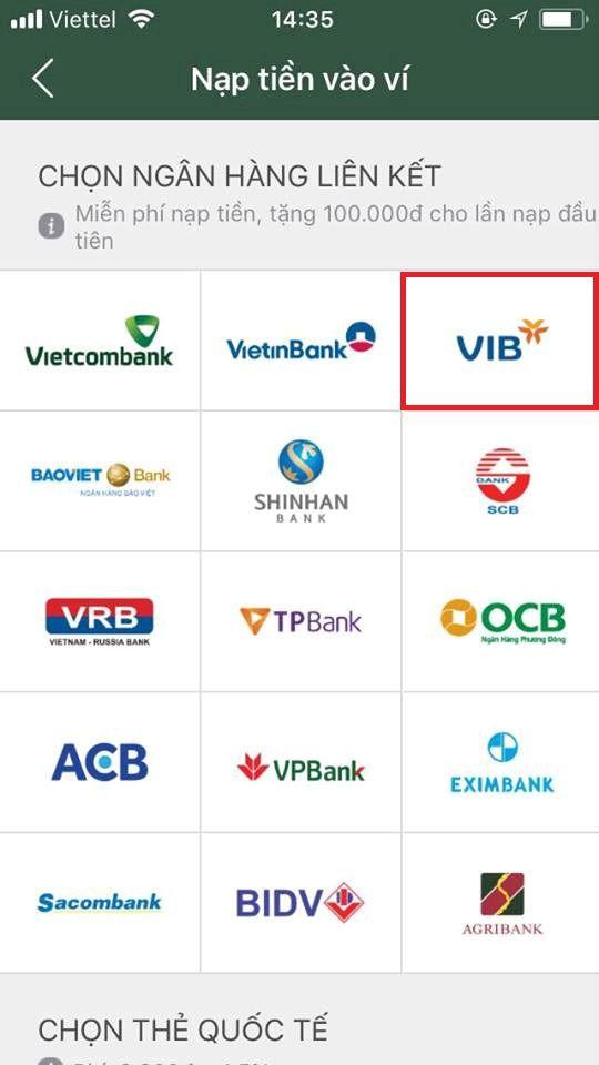 liên kết ví điện tử momo với ngân hàng vib