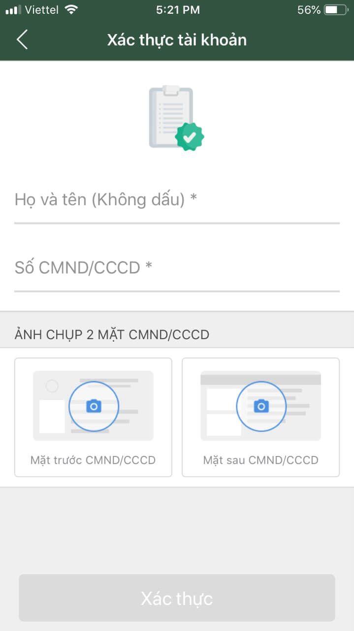 liên kết ví điện tử momo với ngân hàng vietcombank 2