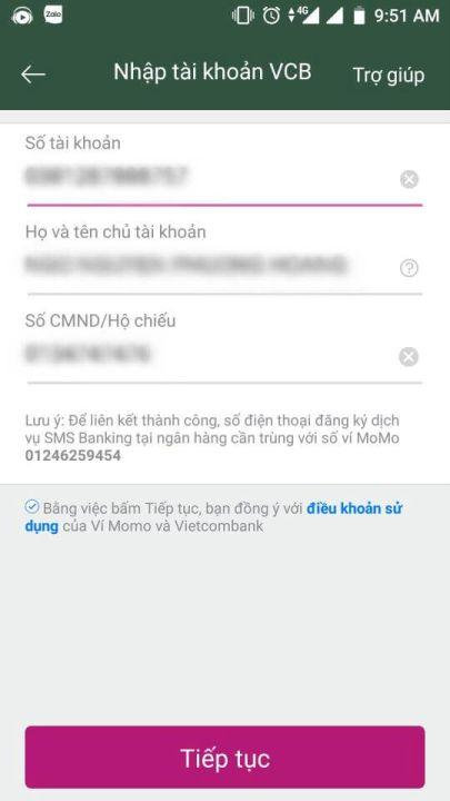 liên kết ví điện tử momo với ngân hàng vietcombank 3