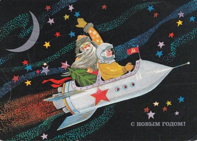 Ded Moroz waving from a rocket (Image courtesy Katya Zykova, soviet-postcards.com)